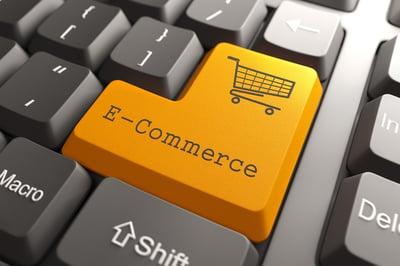 Orange E-Commerce Button on Computer Keyboard. Internet Concept.-1