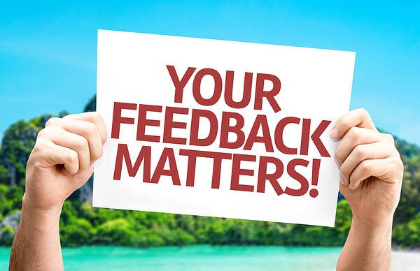 Your Feedback Matters card with a beach on background