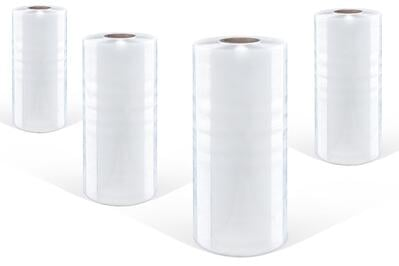 rolls of shrink film standing up with white backround